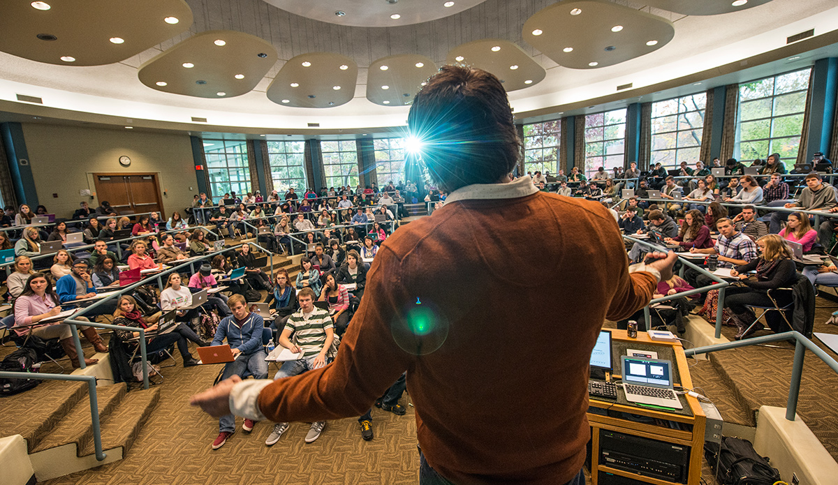 A Michigan State University professor lectures to a classroom full of students