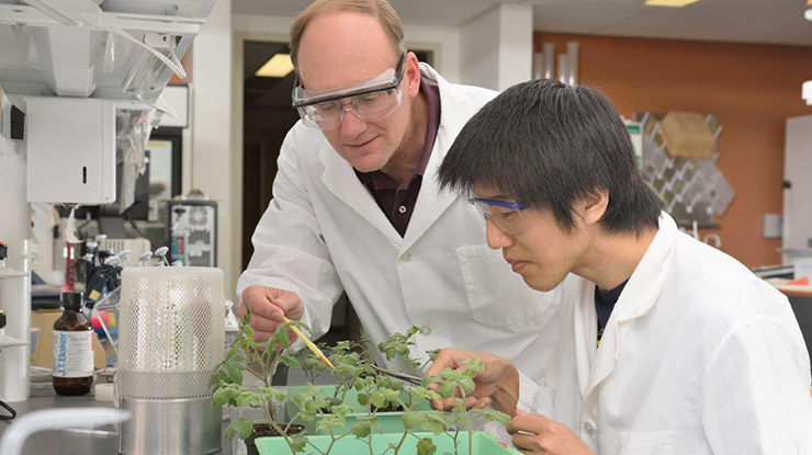 A professor gestures to a plant while teaching an environmental biology student. Both wear lab coats and safety glasses.